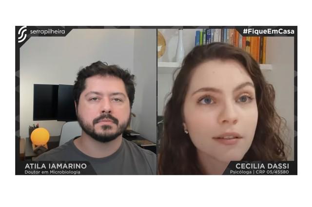 Cecília Dassi na live com Átila Iamarino (Foto: Reprodução)