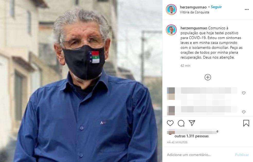 Prefeito de Vitória da Conquista diz que foi diagnosticado com Covid-19 — Foto: Reprodução/Instagram