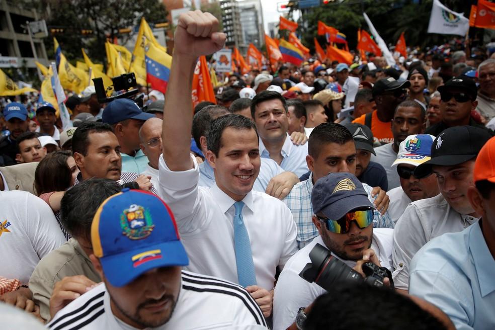 Juan Guaidó durante marcha no dia 10 de março de 2020 — Foto: Manaure Quintero/Reuters