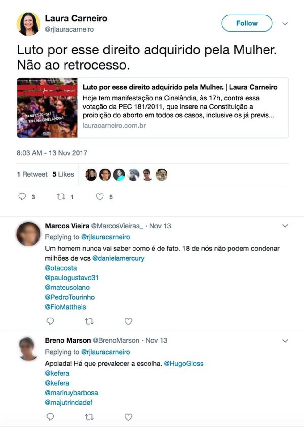 Perfis marcam Twitter de famosos em publicação de deputada na rede social (Foto: Reprodução, Twitter)