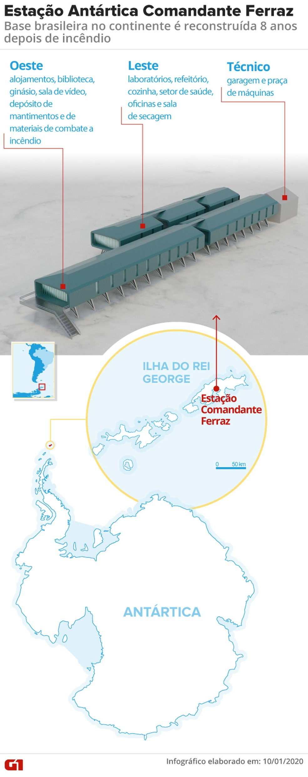 Infográfico mostra nova estação brasileira na Antártica  — Foto: Amanda Paes/G1