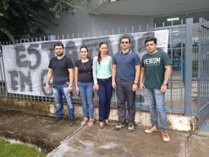 Servidores em greve na agência em Laranjal do Jari, no Amapá (Foto: Divulgação/Fenasps)