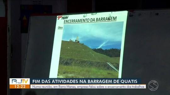 Empresa anuncia fim de atividades de barragem em Quatis