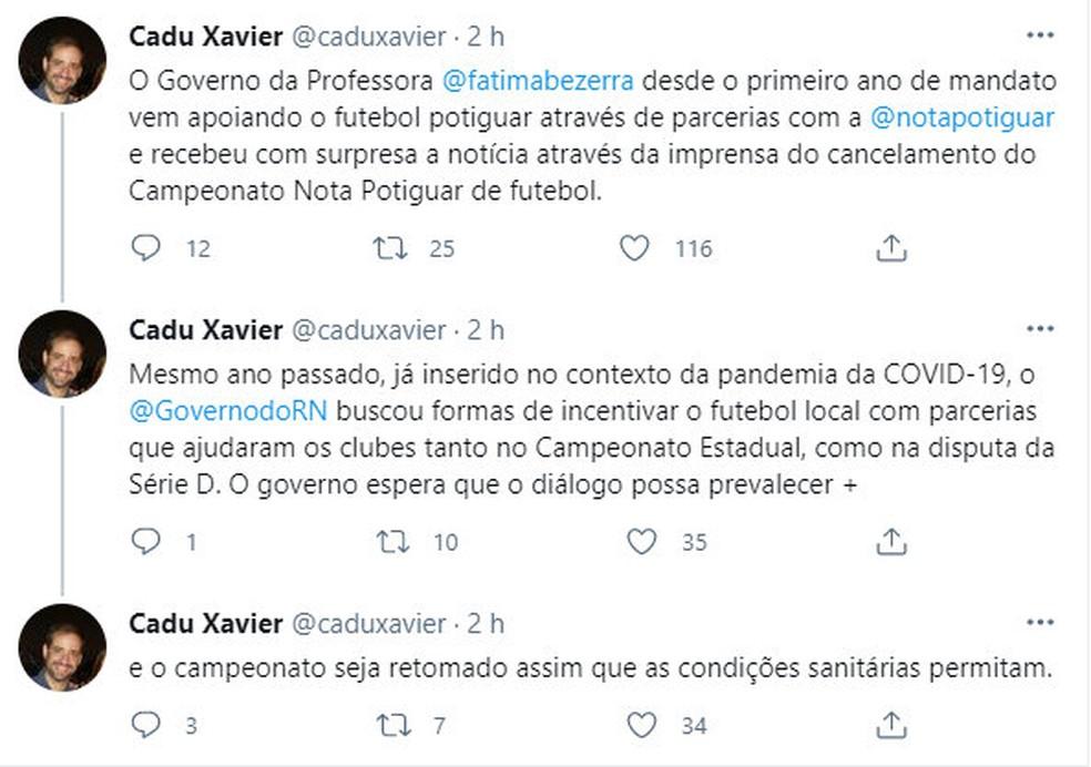 Secretário estadual de Tributação se manifesta sobre cancelamento do Campeonato Potiguar 2021 — Foto: Reprodução