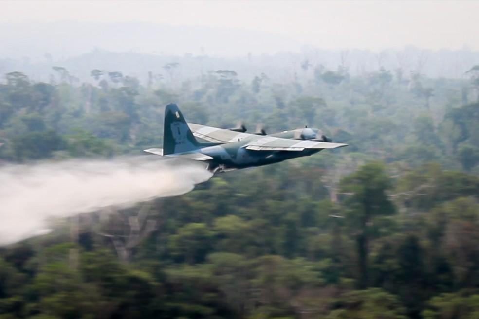 O único avião Hércules C30 enviados à região foi para o RJ.  — Foto: FAB/Divulgação