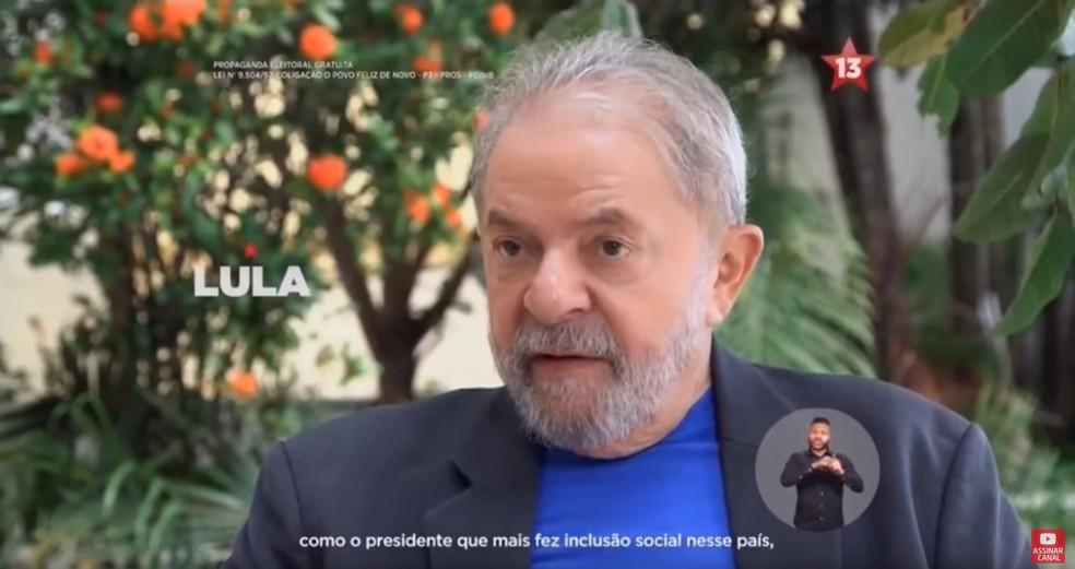Lula (PT) no primeiro dia de propaganda eleitoral na TV — Foto: Reprodução