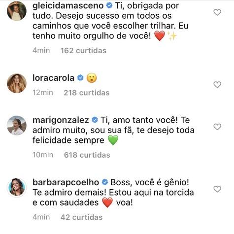 As ex-'BBB's Gleici Damasceno e Mari Gonzales, a atriz Carolina Dieckmann e a jornalista Bárbara Coelho (Foto: Reprodução)