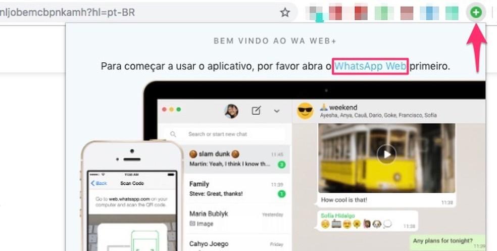Ação para abrir o WhatsApp Web para usar os recursos da extensão WA Web Plus para Chrome — Foto: Reprodução/Marvin Costa