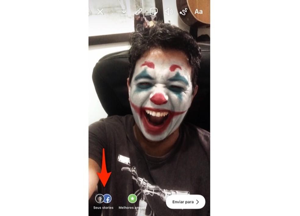 Ação para compartilhar no Instagram uma história com filtro Joker — Foto: Reprodução/Marvin Costa