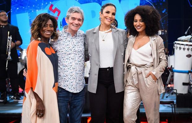 Glória Maria, Serginho Groisman, Ivete Sangalo e Sheron Menezzes (Foto: Divulgação/TV Globo)