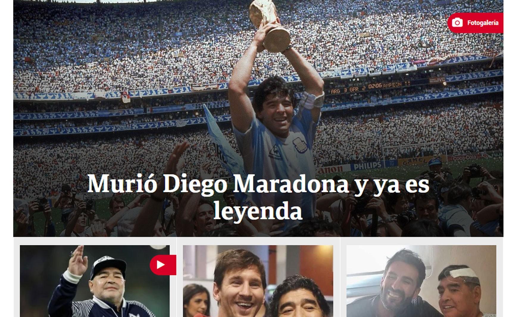 Morte de Diego Maradona é manchete na imprensa internacional