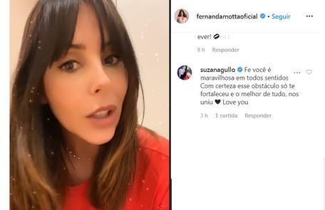 Suzana Gullo mostrou seu carinho via redes sociais Reprodução/Instagram