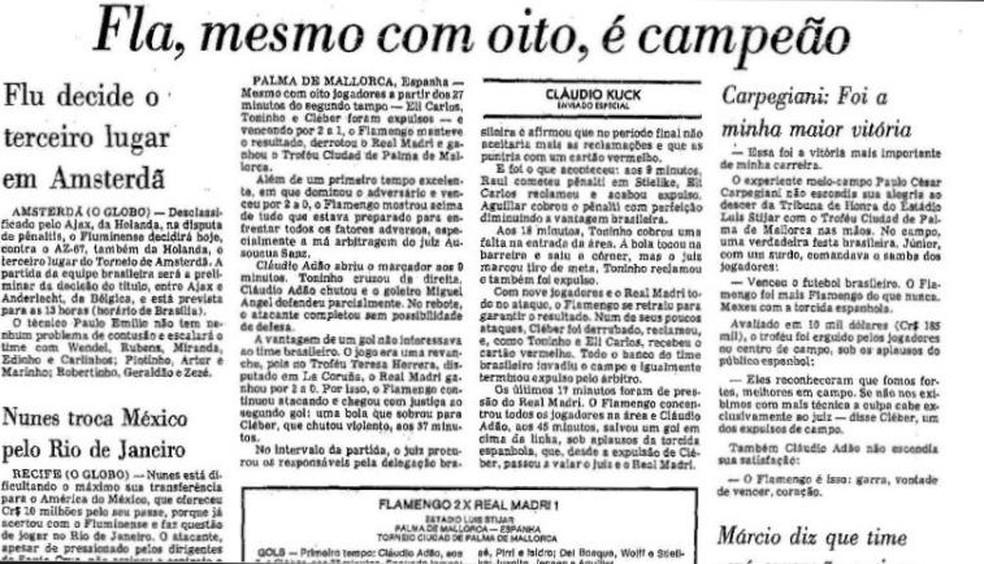 Vitória também foi destaque no Jornal O Globo — Foto: Reprodução Acervo O Globo