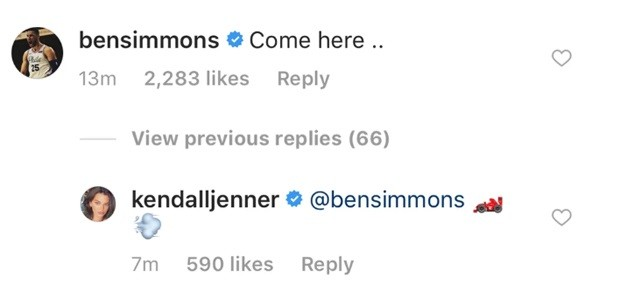 Kendall Jenner e Ben Simmons flertam na web (Foto: Reprodução/Instagram)