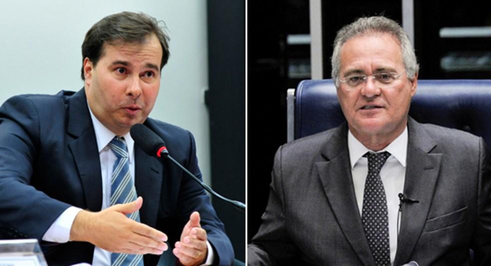 O presidente da Câmara, Rodrigo Maia (esq.) e o senador Renan Calheiros — Foto: Agência Brasil