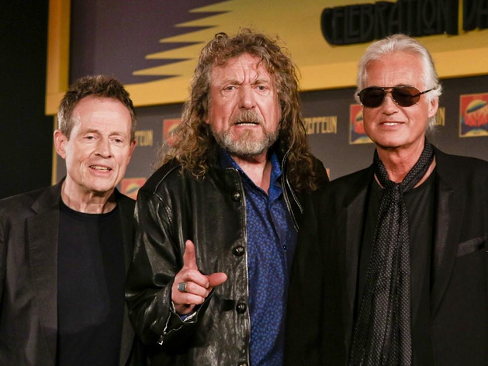 John Paul Jones, Robert Plant e Jimmy Page durante lançamento do filme 'Celebration day', em Londres — Foto: Miles Willis/Invision/AP