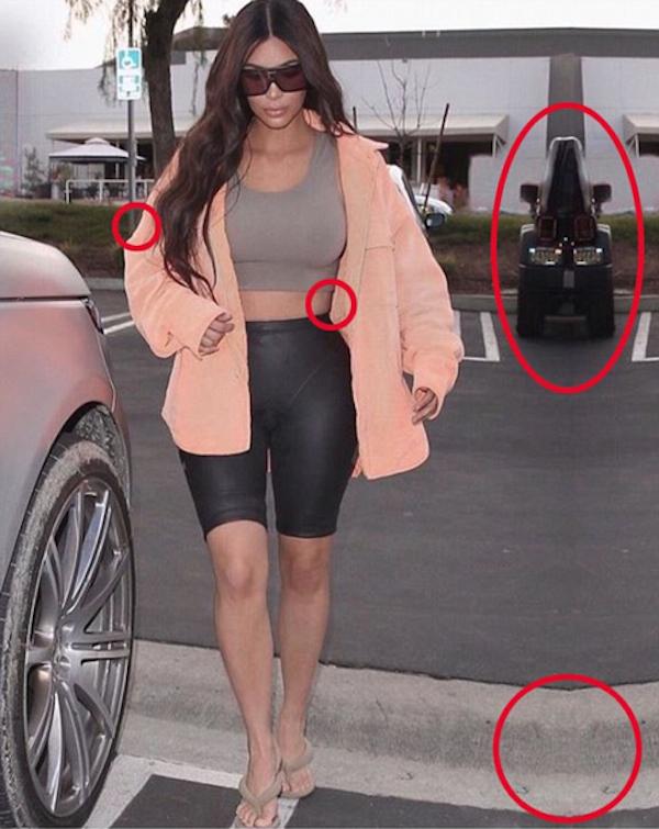 A socialite Kim Kardashian na foto repleta de falhas de edição (Foto: Instagram)
