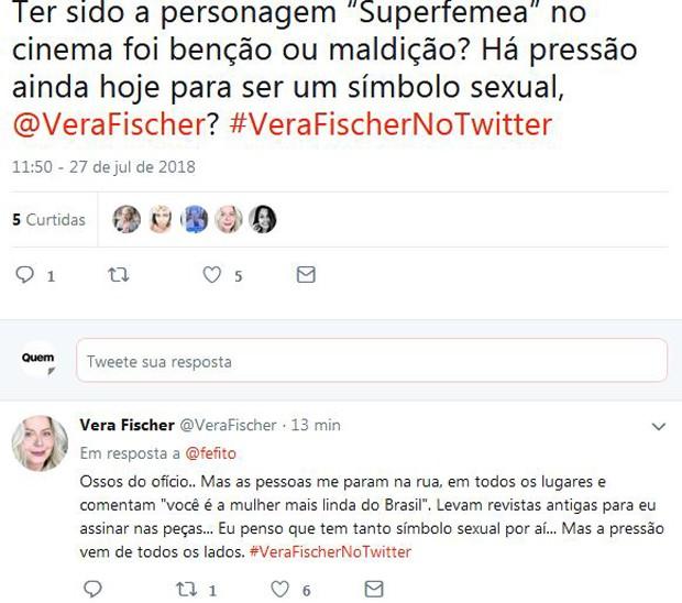 Vera Fischer conversa com seguidores (Foto: reprodução)