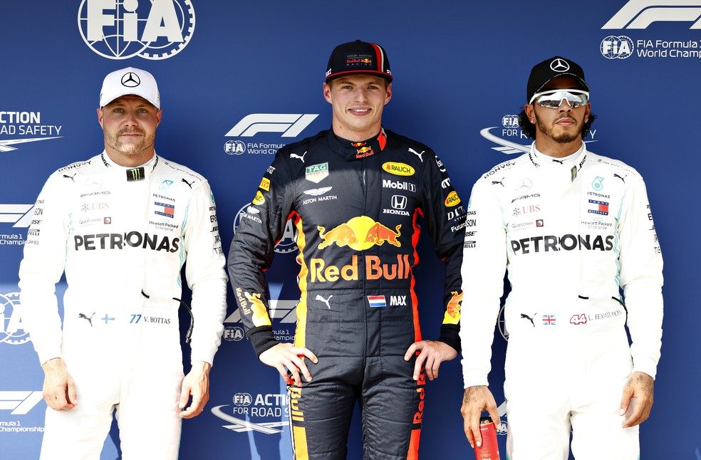 Bottas, Verstappen e Hamilton, os três primeiros do grid na Hungria — Foto: Getty Images