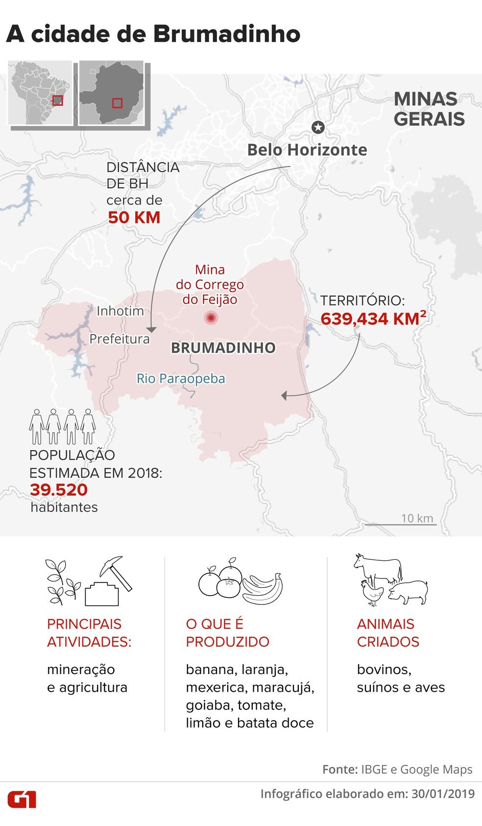 Raio-X da cidade de Brumadinho — Foto: Karina Almeida/G1