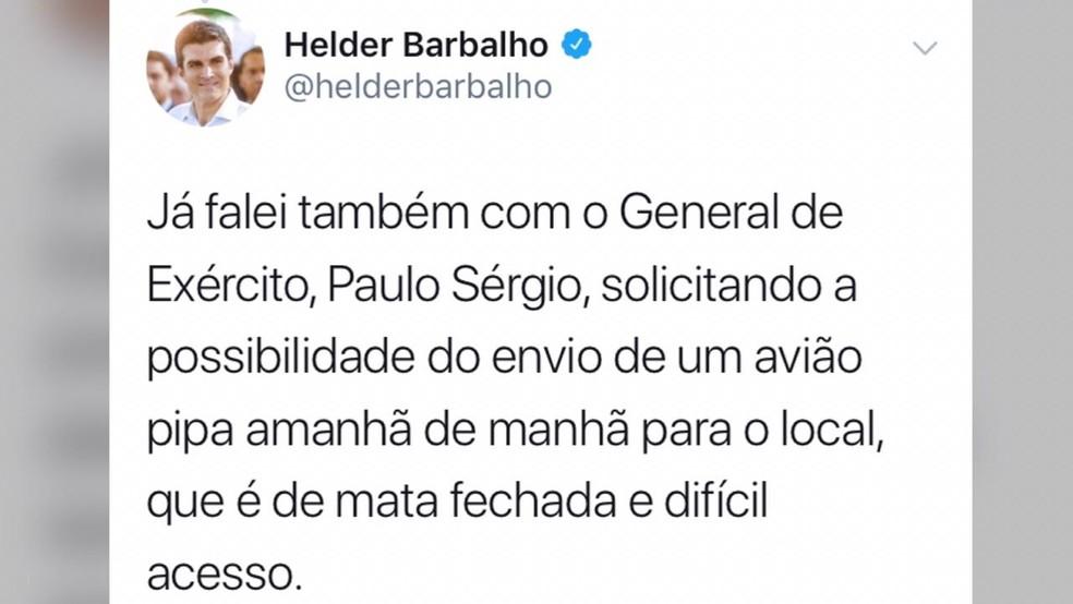 Postagem do governador Helder em uma rede social — Foto: Reprodução/Twitter