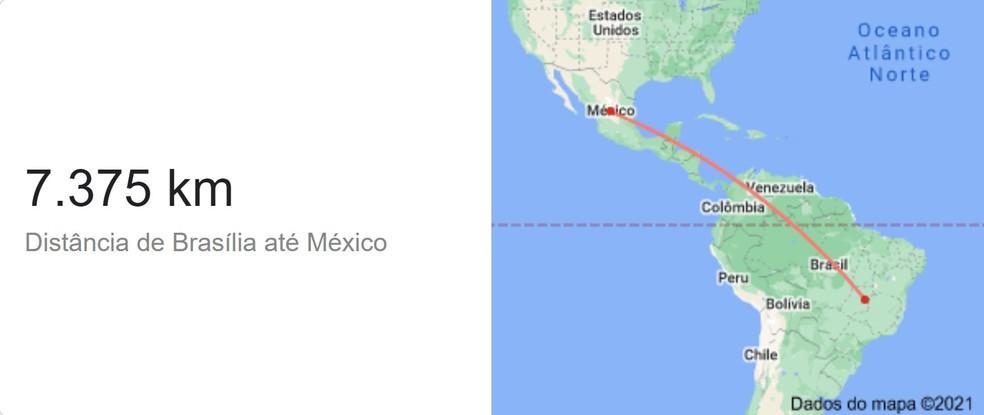 Distância entre Brasília e México — Foto: Google/Reprodução