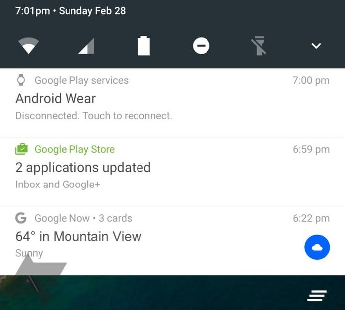 Suposto painel de notificações do Android 7 (Foto: Reprodução/Android Police)