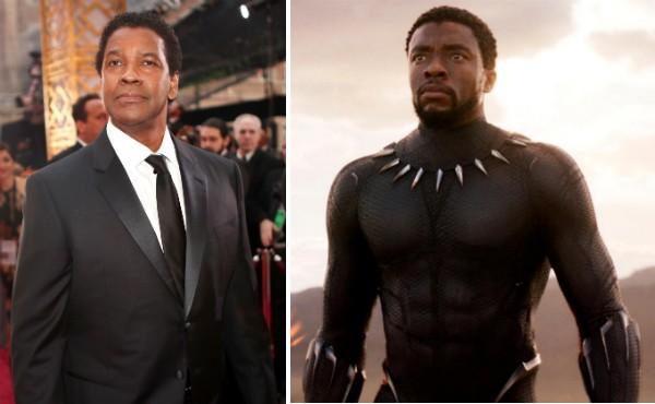 O ator Denzel Washington e ator Chadwick Bosnam em cena de Pantera Negra (2018) (Foto: Getty Images/Divulgação)
