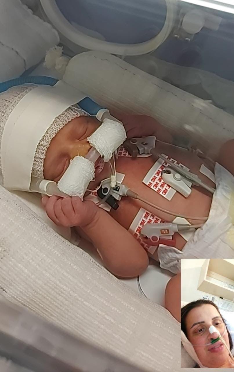 Mãe internada com Covid conhece por videochamada filho recém-nascido em SC; 'Foi tudo bem mais rápido e mais complicado do que esperávamos', diz companheiro