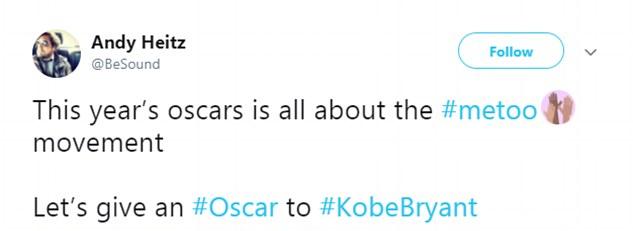 Uma crítica à vitória de Kove Bryant no Oscar 2018 (Foto: Twitter)