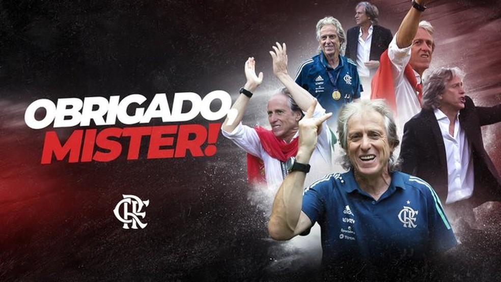 Montagem do Flamengo agradece a Jorge Jesus após saída do clube — Foto: Reprodução