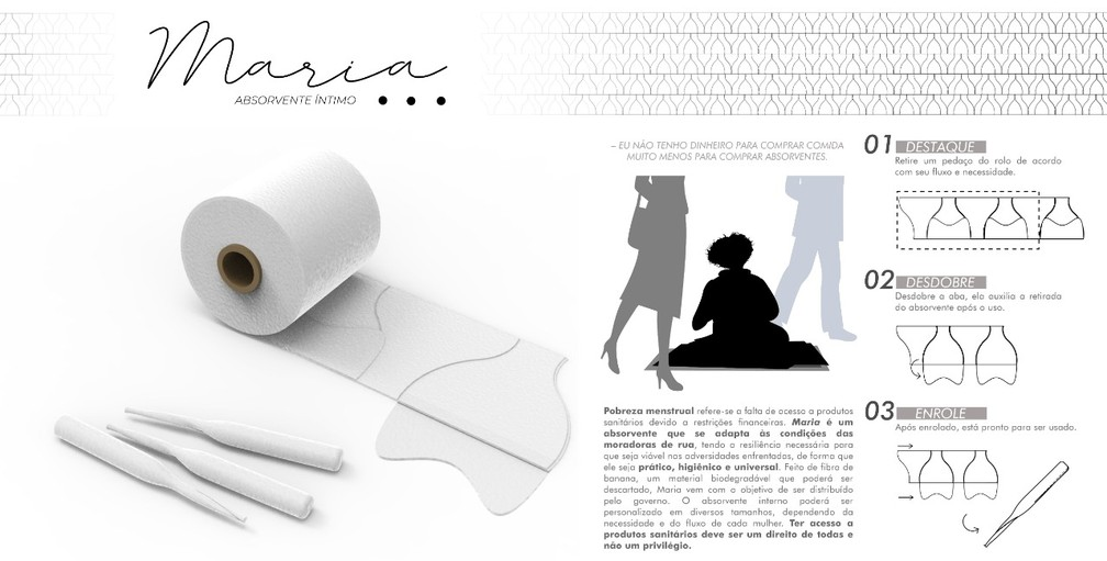 Projeto do absorvente foi desenvolvido como trabalho de conclusão de curso — Foto: Arquivo pessoal