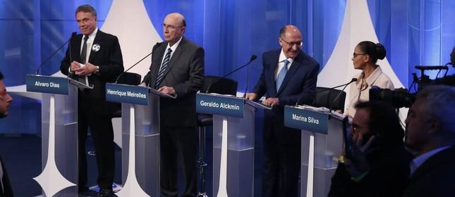 Alvaro Dias, Meirelles, Alckmin e Marina no debate da RedeTV!