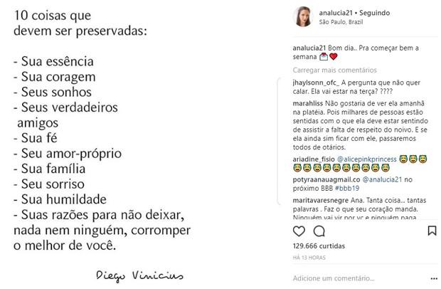 Post de Ana Lúcia Vilela, noiva de Lucas Fernandes (Foto: Reprodução/Instagram)