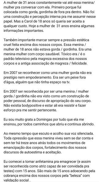 Carolinie Figueiredo lembra da época em que interpretou Domingas em 'Malhação' (Foto: Reprodução)