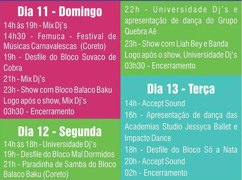 -  Programação do carnaval de Itapecerica  Foto: Prefeitura Itapecerica/Reprodução