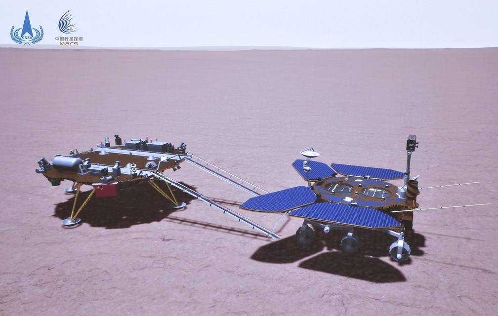 A foto, uma renderização artística, mostra o robô Zhurong (à direita) descendo da plataforma de pouso (à esquerda) e tocando o solo em Marte. — Foto: CNSA via AP