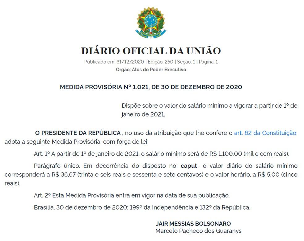 MP que define salário mínimo de 2021 foi publicado no DOU desta quinta-feira (31) — Foto: Diário Oficial da União