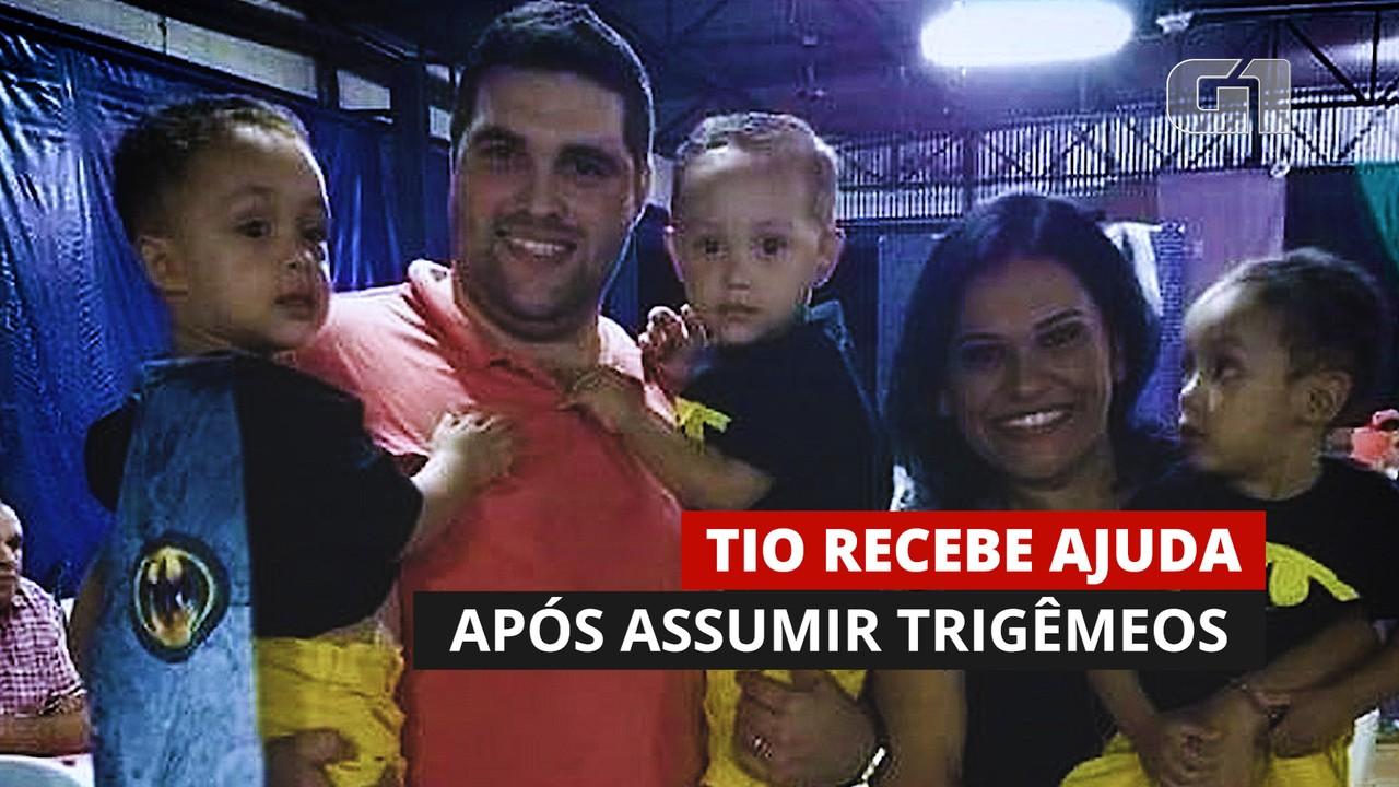 Tio recebe ajuda após assumir trigêmeos órfãos; mãe, tia e avó morreram de Covid-19