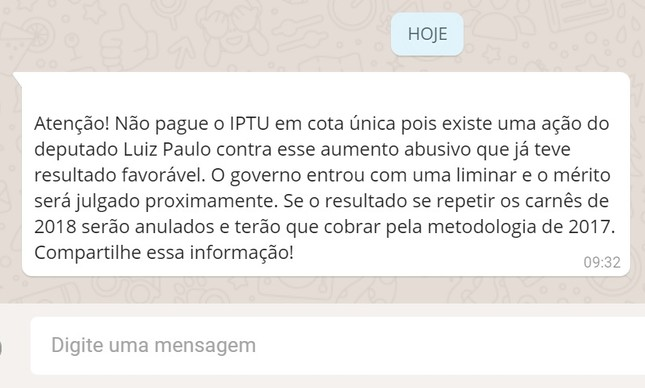 Mensagem que circula sobre o não pagamento do IPTU