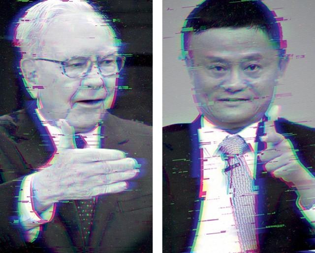 O investidor Warren Buffett e Jack Ma, do Ali Baba, estão entre os mais críticos em relação aos ativos digitais (Foto: Getty Images)