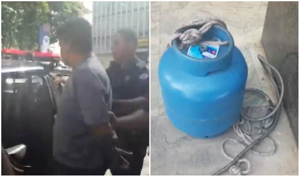 Ambulante tenta entrar na prefeitura com botijão de gás em Rio Claro (Foto: Vlada de Santi/ Jornal Cidade)