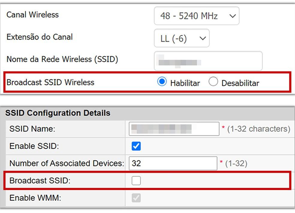 Opções para desativar o 'SSID Broadcast' em dois tipos de roteadores. — Foto: Reprodução