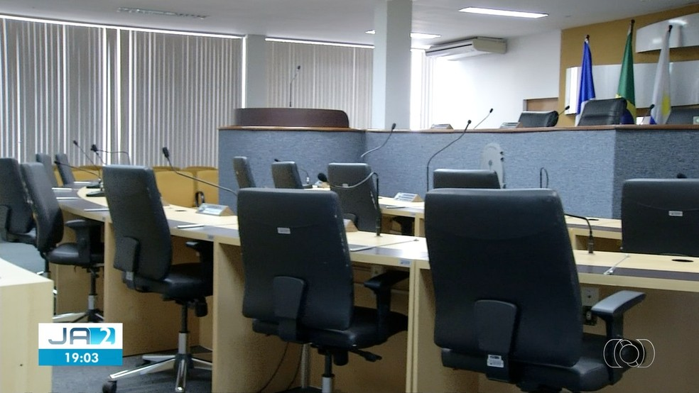 Câmara de Palmas precisou ter sessão interrompida após ataque hacker — Foto: Reprodução/TV Anhanguera