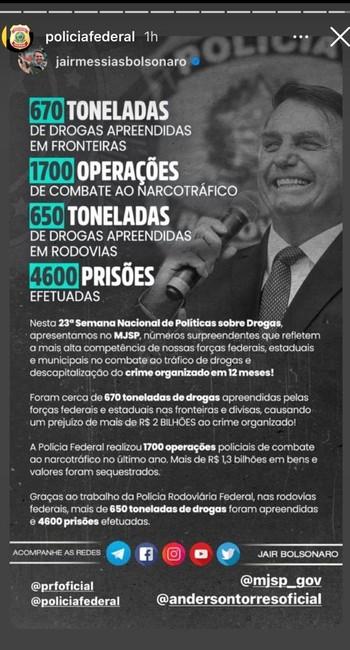 Postagem no Instagram da Polícia Federal com imagem de Jair Bolsonaro