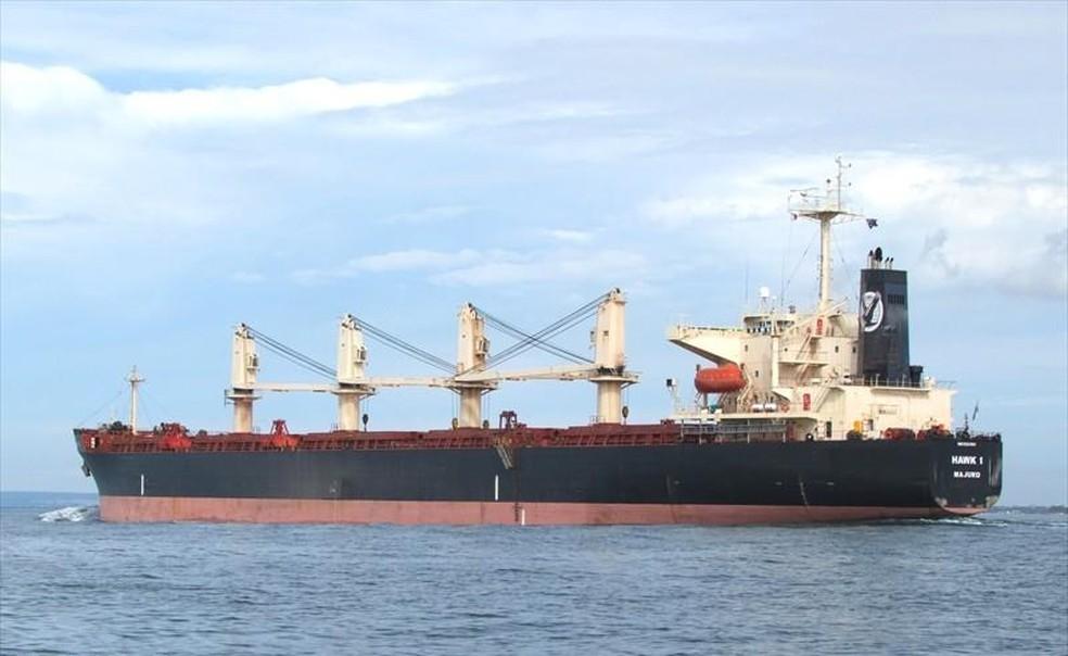Foto do navio cargueiro Hawk I, que transporta cobre e atracou no Porto do Itaqui, em São Luís — Foto: Andrew Mackinnon/MarineTraffic.com