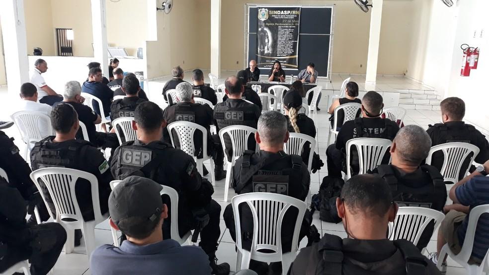 Agentes penitenciários do RN retomaram a normalidade das atividades após operação padrão — Foto: Divulgação/Sindasp