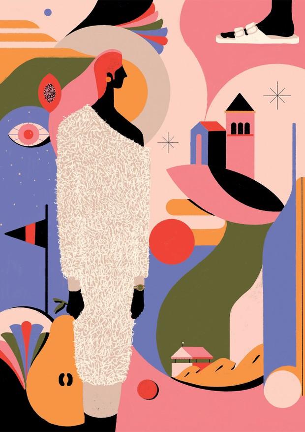 Vestido Heloisa Faria (R$ 900), sandálias Linus (R$ 148), relógio Rolex (R$ 60.050) e brincos HStern (R$ 2.860) (Foto: Ilustrações: Mari Duarte, Ina Gouveia, Giulia Puntel, Daiana Ruiz e Jess Vieira)