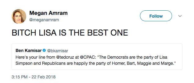Um comentário fazendo piada com a referência do político Ted Cruz aos Simpsons (Foto: Twitter)