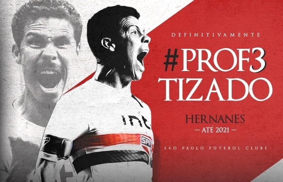 Anúncio do meia Hernanes pelo São Paulo — Foto: Saopaulofc.net